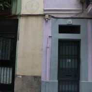Blue and purple door in Barcelona