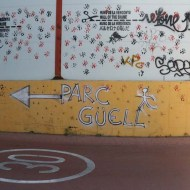 Sign to parc guell graffiti