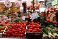 Big open market in Barcelona selling tomatoes