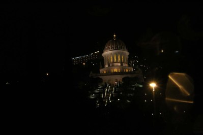 Night Time Bahai Garden Architecture houses and nature of Haifa Palestine Israel