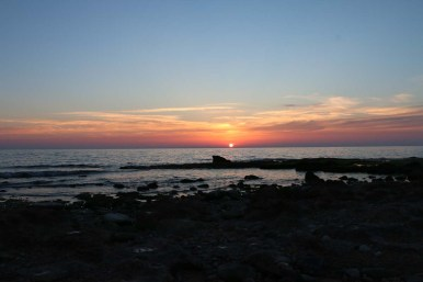 Sunset over The Mediterranean beach in occupied Palestine Israel