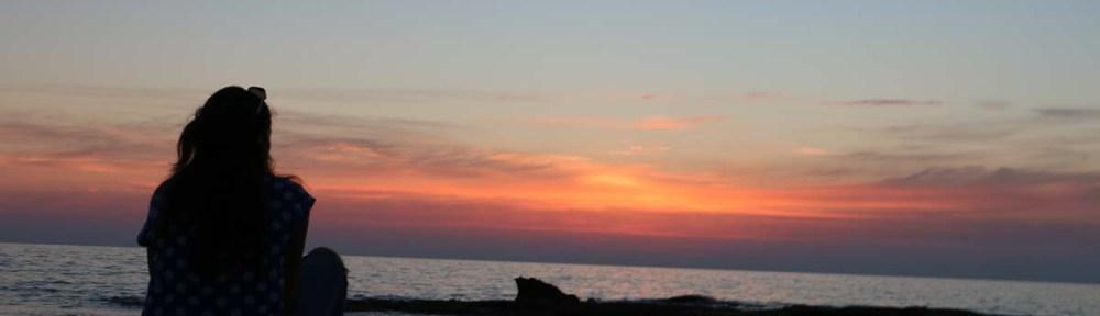 Sunset over The Mediterranean beach in occupied Palestine Israel