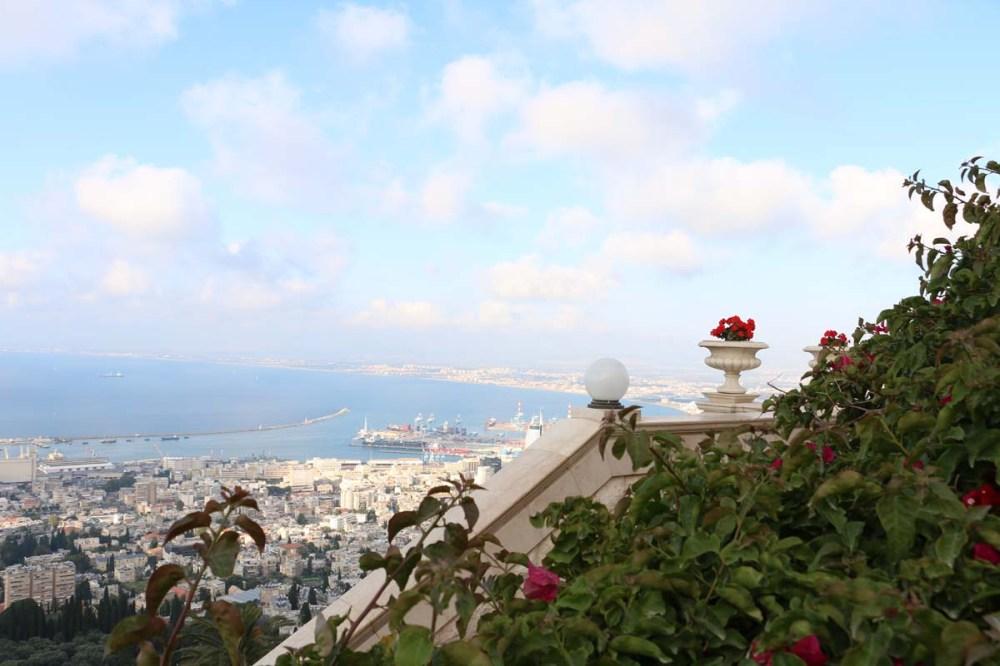 مدينة حيفا فلسطين، overlooking the streets and sea of Haifa Palestine Israel