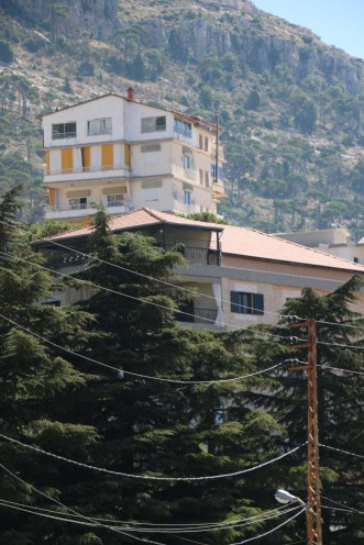 The houses and streets in mountain village ehden lebanon