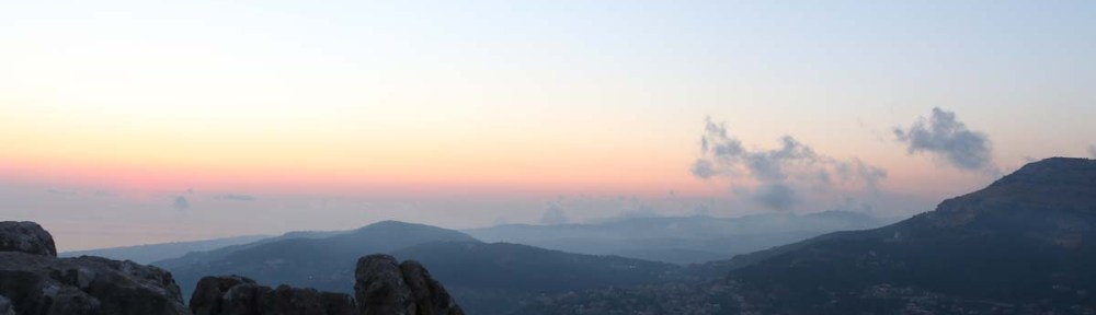 The sunset view from the mountains of Lebanon