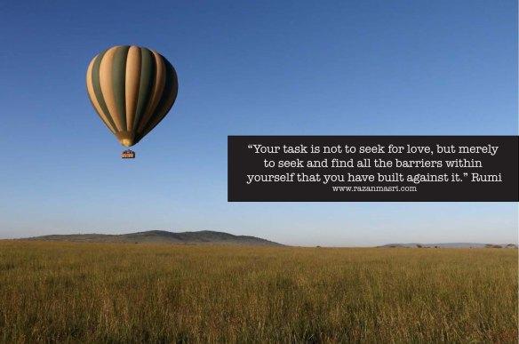 rumi, love, zanzibar, safari, hot air balloon