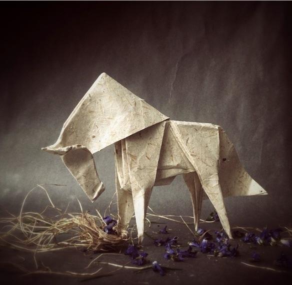 Wenlise_Fold, horse, unicorn, purple, paperart