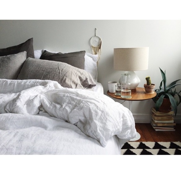 bed, white, checkered, candles, dream catcher