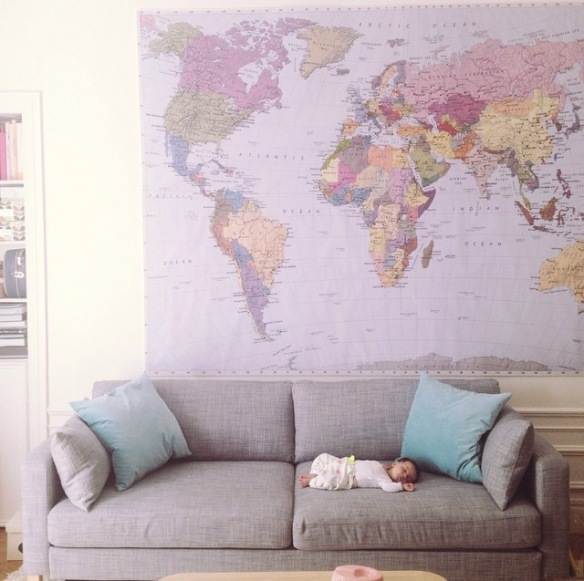 earth map, sofa, living room, baby