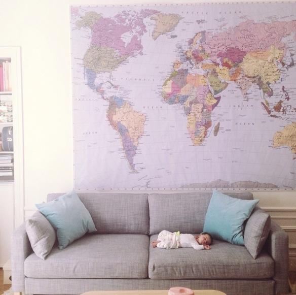 earth map, sofa, living room, baby