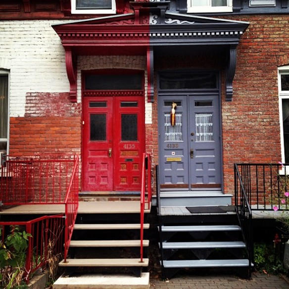 Maybe, red door, blue door, door, doors, architecture, montreal