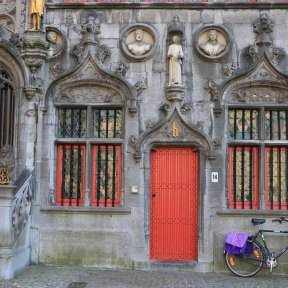 red, door, cathedral